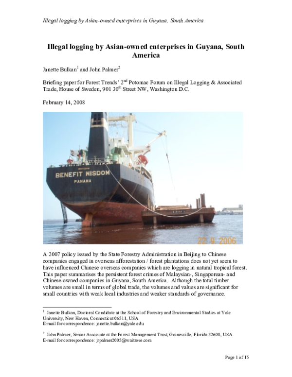 PDF) Illegal logging by Asian-owned enterprises in Guyana