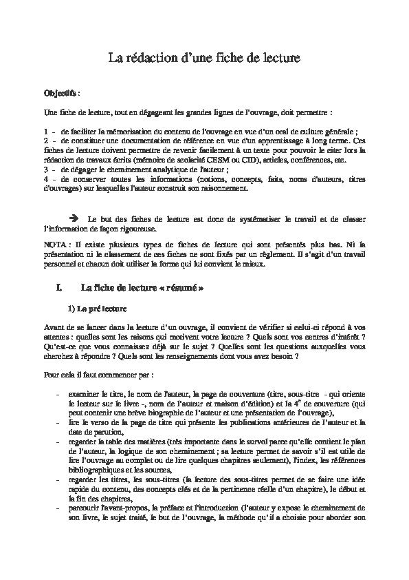 (PDF) Comment faire une fiche de lecture   Ismaël TRAORE ...