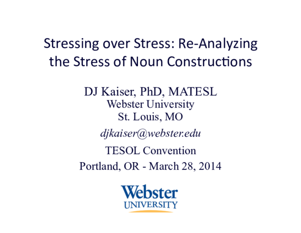 PDF) Stressing over Stress: Re-Analyzing the Stress of Noun