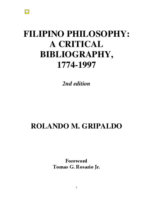 PDF) Filipino Philosophy: A Critical Bibliography (1774-1997