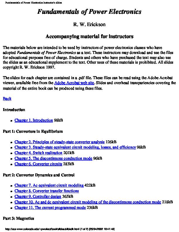 PDF) Fundamentals of Power Electronics Instructor's slides
