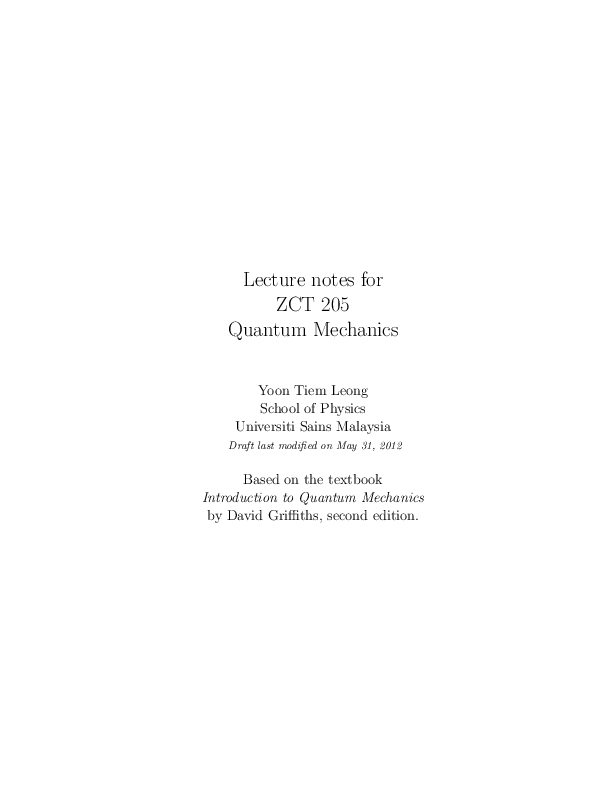 PDF) Lecture notes for ZCT 205 Quantum Mechanics(David Griffiths