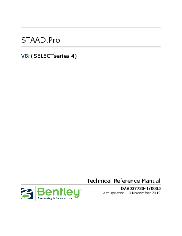 PDF) STAAD Pro V8i (SELECTseries 4) Technical Reference Manual