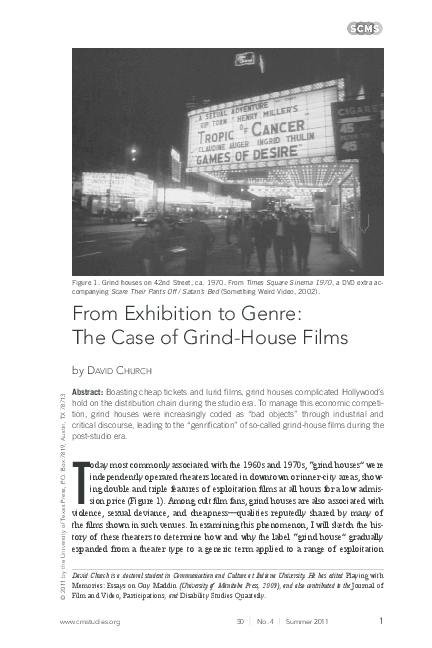 From Exhibition To Genre The Case Of Grind House Films David