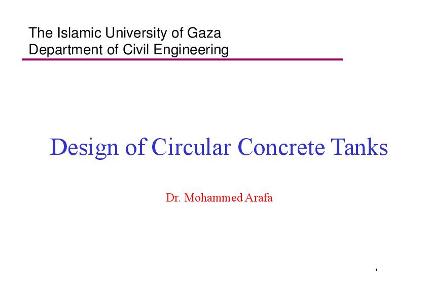 PDF) Design of Circular Concrete Tanks Design of Circular