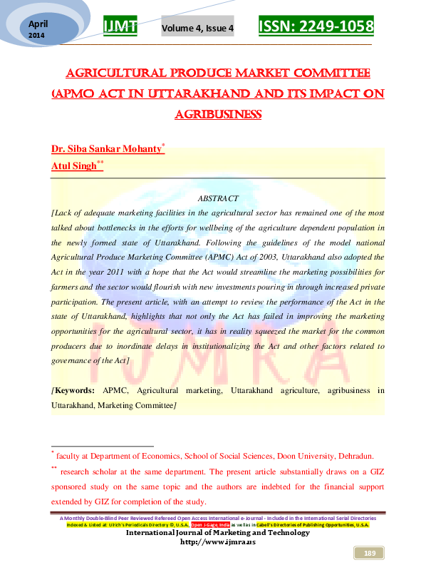 PDF) Agricultural Produce Market Committee (APMC) Act in Uttarakhand