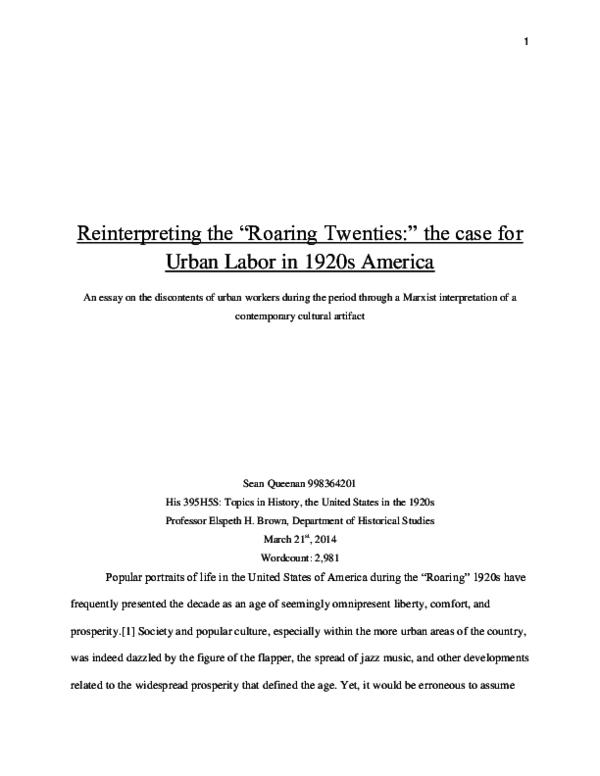 roaring twenties essay introduction