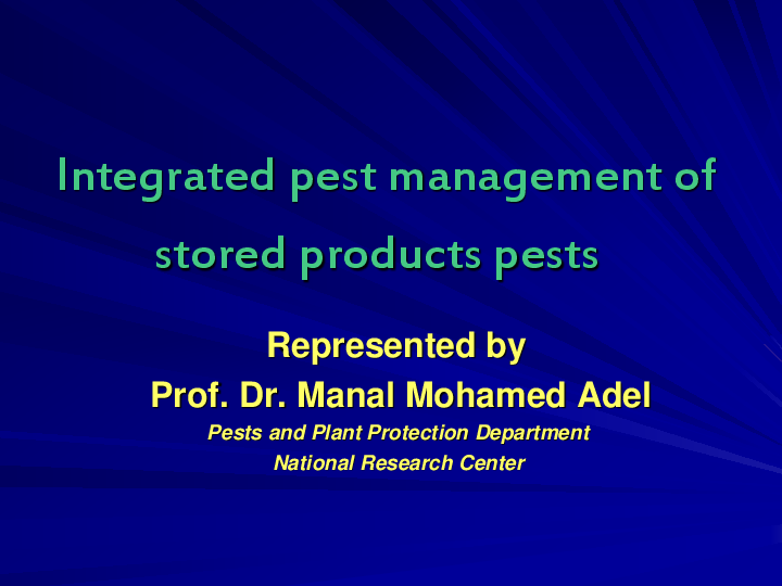 PPT) Integrated pest management of stored products pests