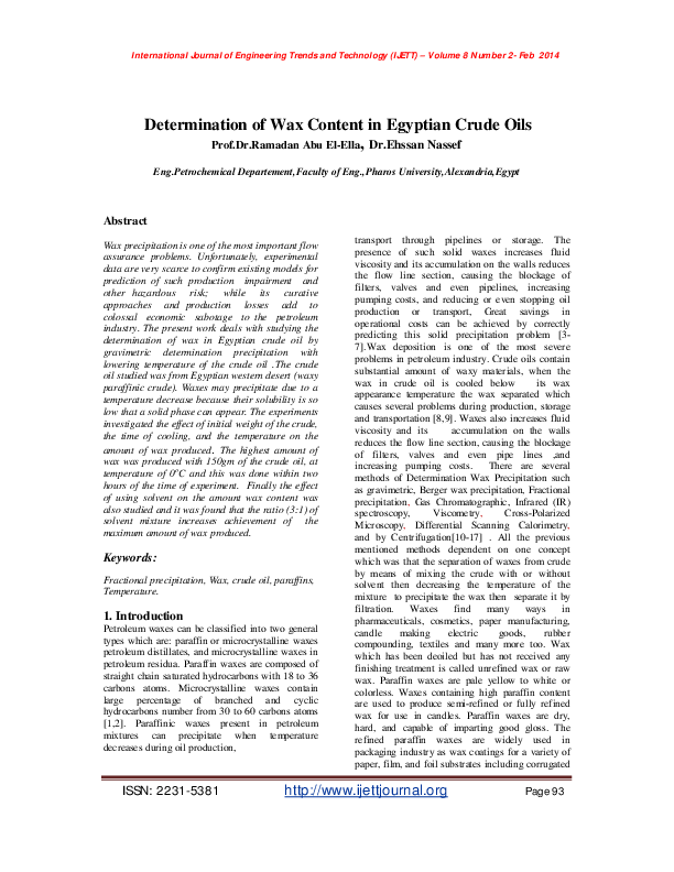 PDF) Dewaxing of Crude oil by fractional precipitation | Ehssan