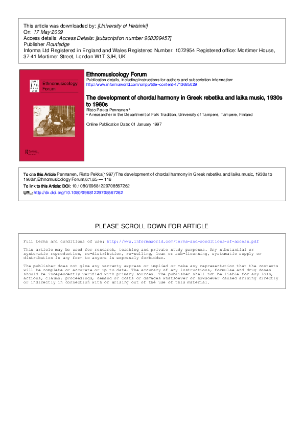 PDF) The Development of Chordal Harmony in Greek Rebetika
