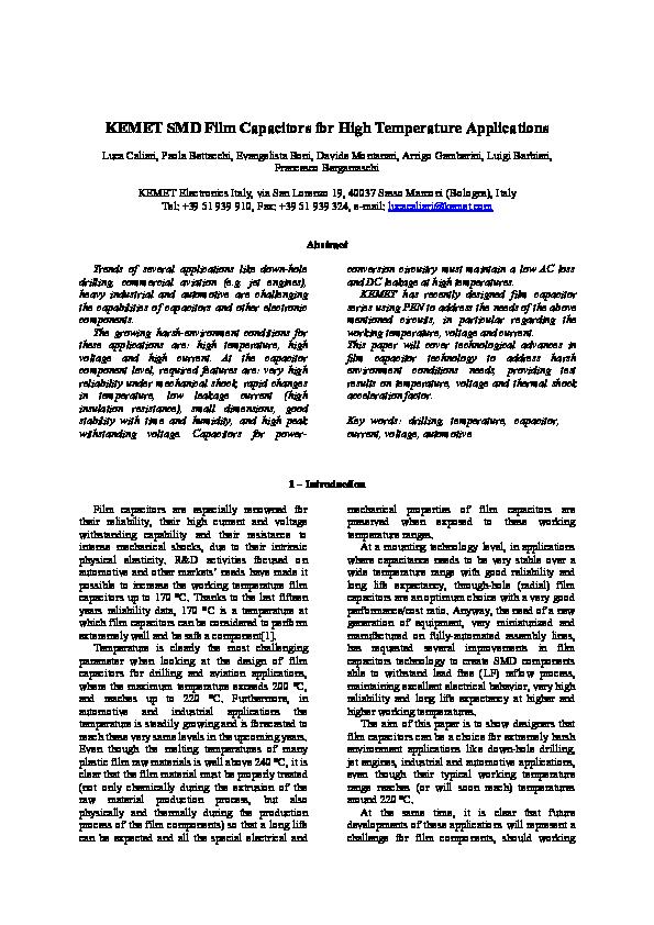 PDF) KEMET SMD Film Capacitors for High Temperature