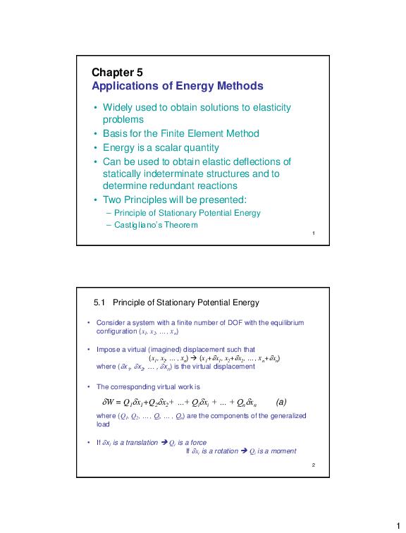 PDF) Chapter 5 Applications of Energy Methods | gusnadi hapsal