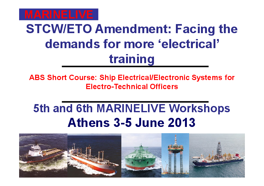PDF) STCW/ETO Amendment: Facing the demands for more 'electrical