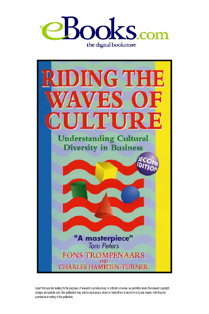 2nd edition Understanding Diversity in Global Business 2//E Riding the Waves of Culture
