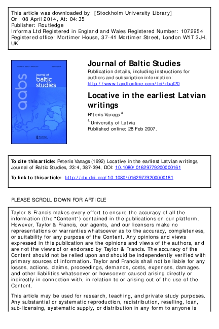 PDF) Locative in the earliest Latvian writings | Peteris