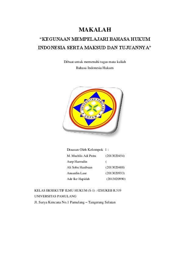 Doc Makalah Bahasa Indonesia Dalam Hukum Raditio Sulistio Academia Edu