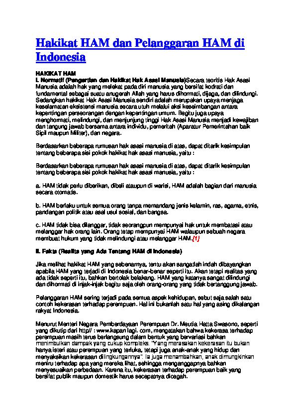 Doc Hakikat Ham Dan Pelanggaran Ham Di Indonesia Hakikat Ham I Zaneta Descara Academia Edu