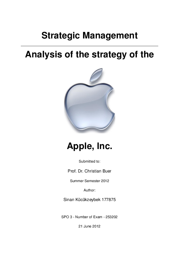 PDF) Analysis of the strategy of the Apple Inc  | Sinan Kücükzeybek