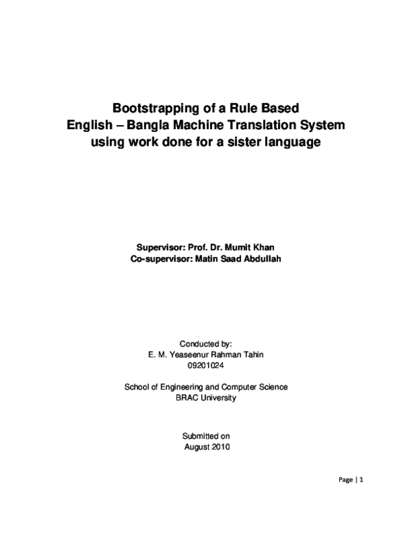 PDF) Bootstrapping of a Rule Based English – Bangla Machine