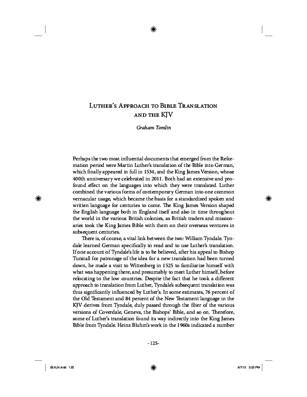 PDF) Luther's Approach to Bible Translation and the KJV