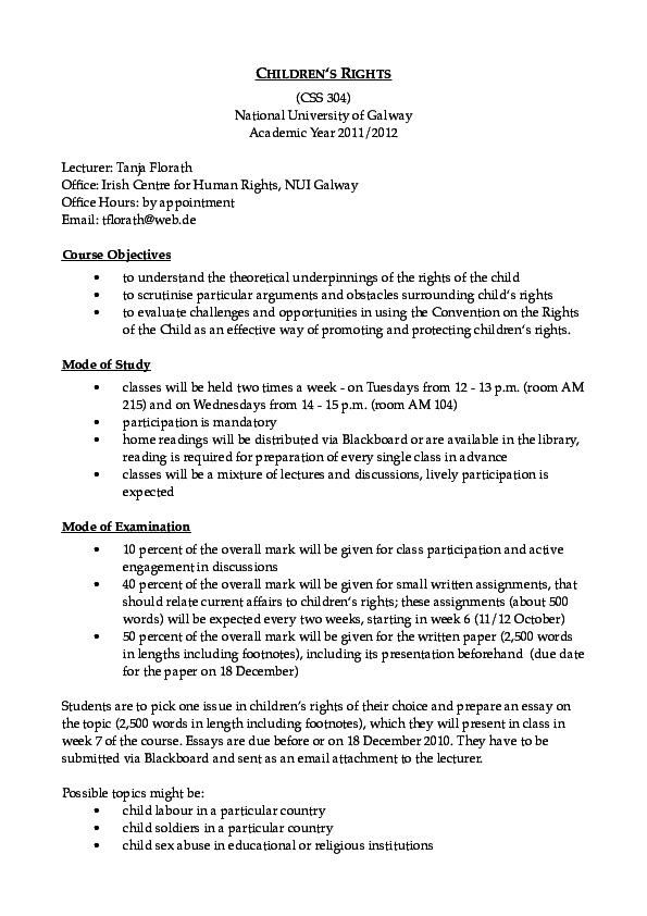 Rights child essays leaving cert irish essays