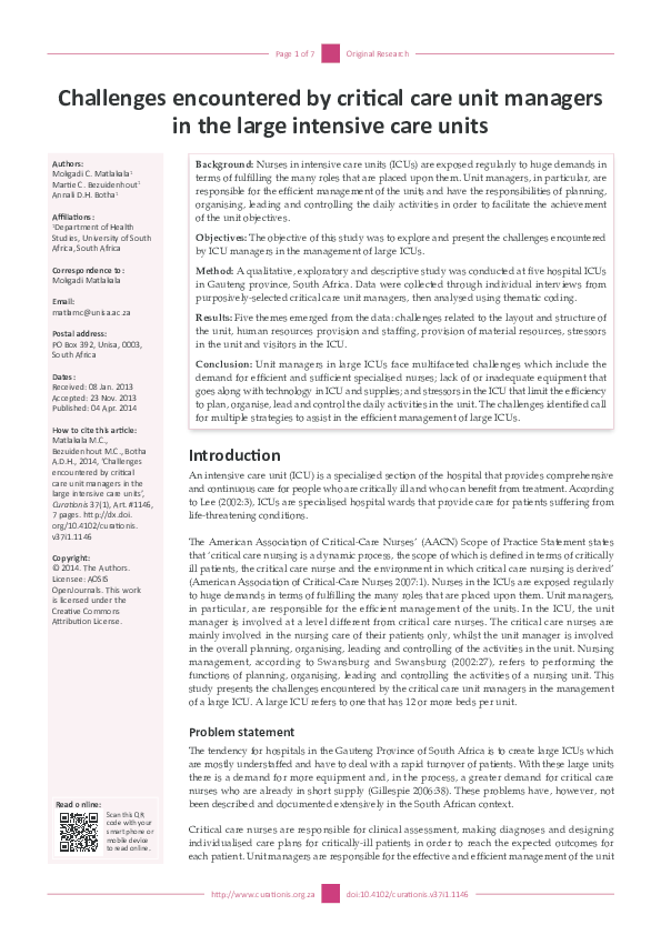 PDF) Challenges encountered by critical care unit managers