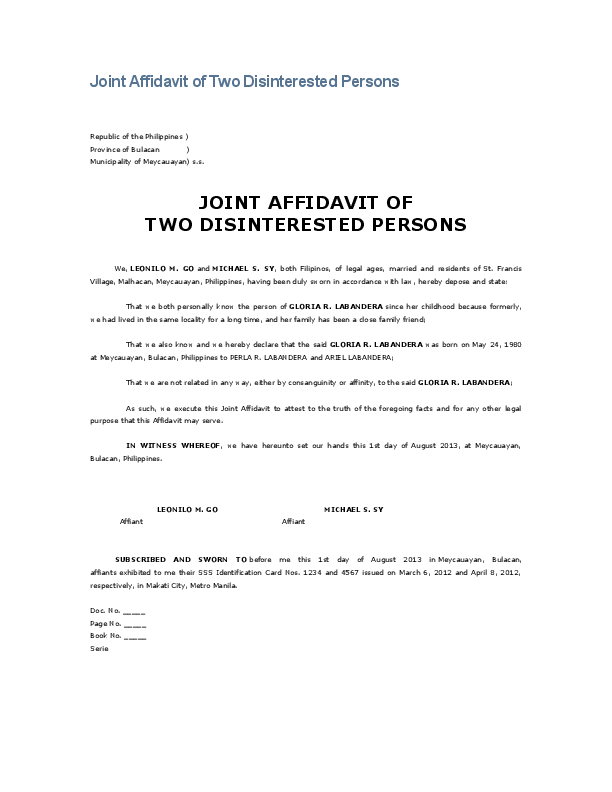 DOC) Joint Affidavit of Two Disinterested Persons JOINT