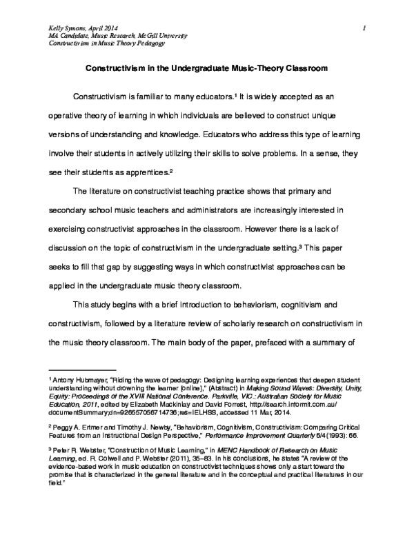 Pdf Constructivism In The Undergraduate Music Theory Classroom Kelly Symons Academia Edu