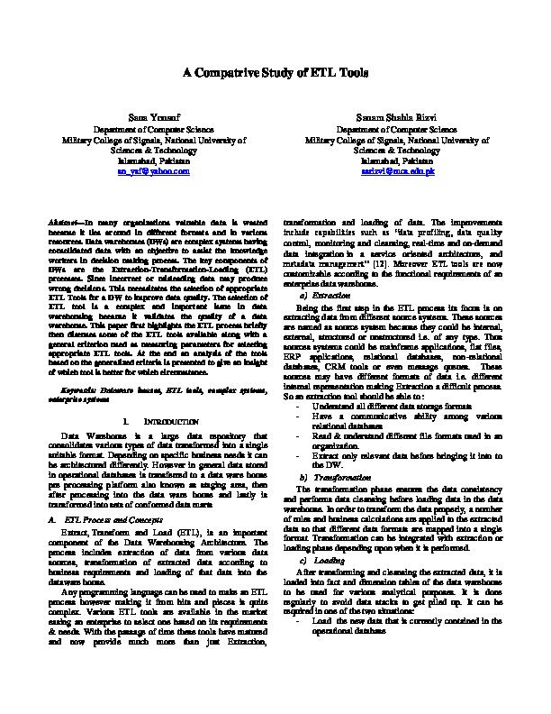 PDF) A Comparitive Study of ETL Tools | Sanam Shahla Rizvi