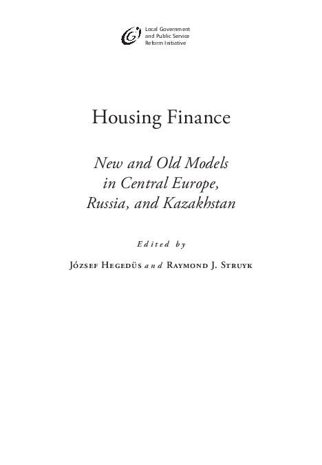 PDF) Housing Finance: New and Old Models in Central Europe, Russia