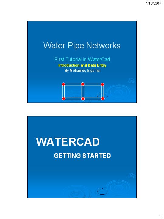 PDF) My First Tutorial in WaterCad (Handout) | Mohamed Elgamal
