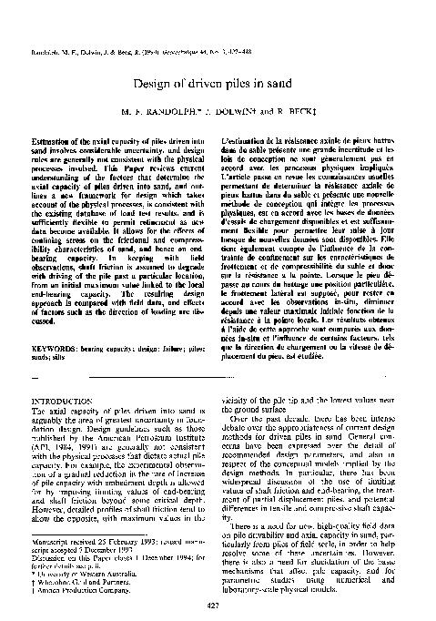 PDF) Design of driven piles in sand   Bungardi Bogdan