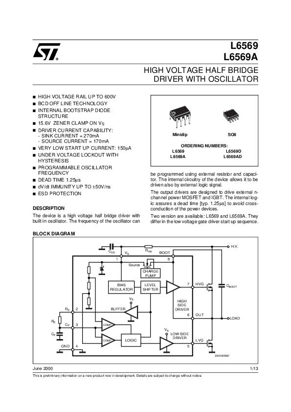 Pdf  High Voltage Half Bridge Driver With Oscillator