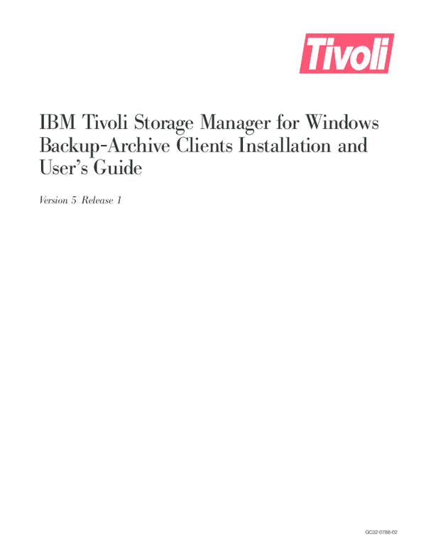 PDF) IBM Tivoli Storage Manager for Windows Backup-Archive Clients