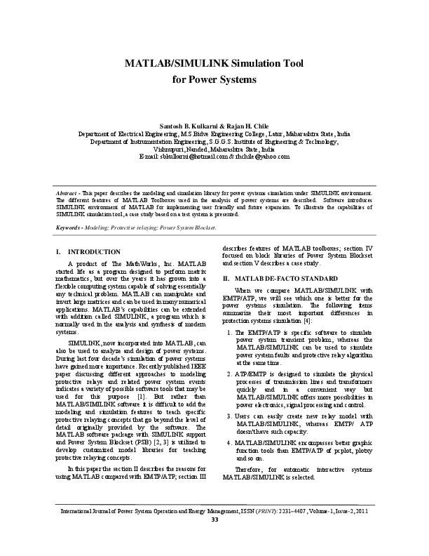 PDF) MATLAB/SIMULINK Simulation Tool for Power Systems