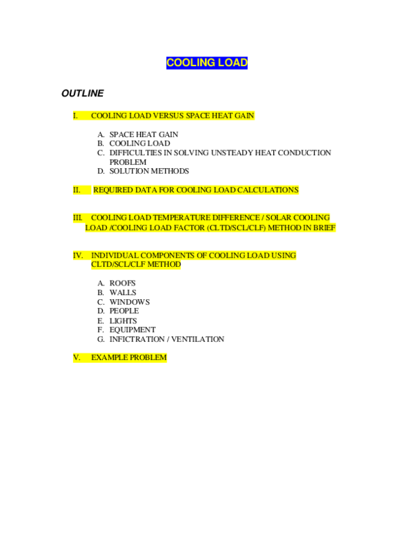 PDF) COOLING LOAD OUTLINE I  COOLING LOAD VERSUS SPACE HEAT GAIN
