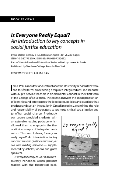 is everyone really equal an introduction to key concepts in social justice education multicultural education series
