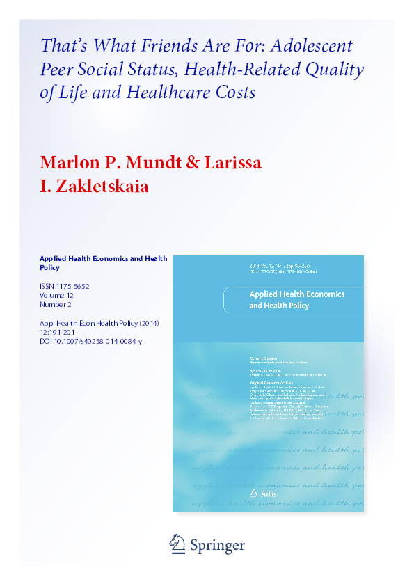 Pdf 2 3 That S What Friends Are For Adolescent Peer Social Status Health Related Quality Of Life And Healthcare Costs Larissa Zakletskaia Academia Edu