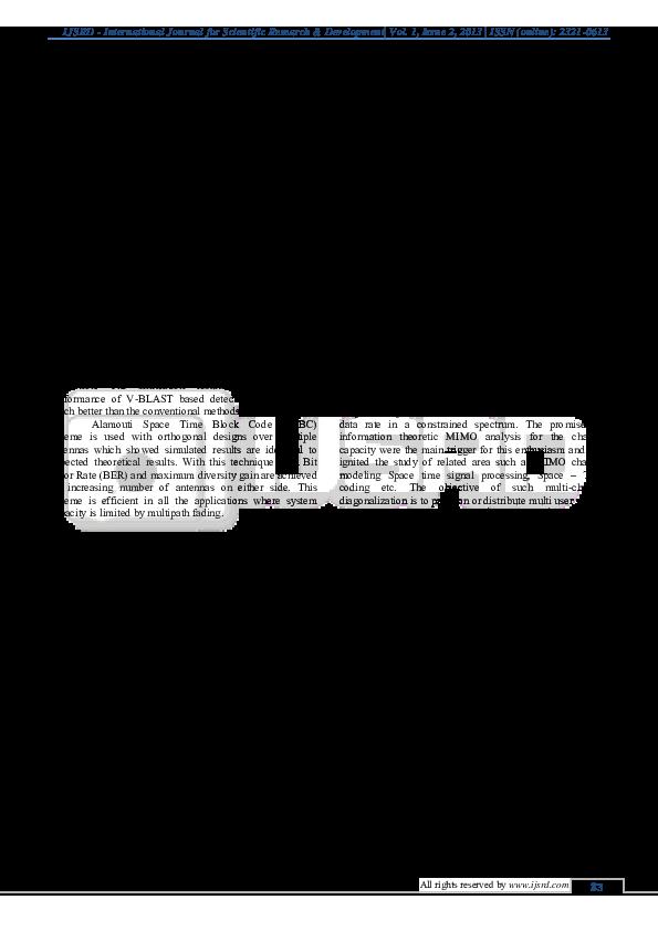 PDF) A New Transmission Scheme for MIMO – OFDM | IJSRD