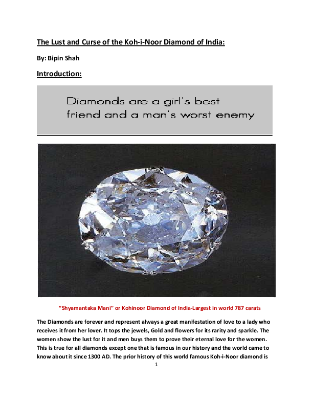 The Lust and Curse of the Koh-i-Noor Diamond of India