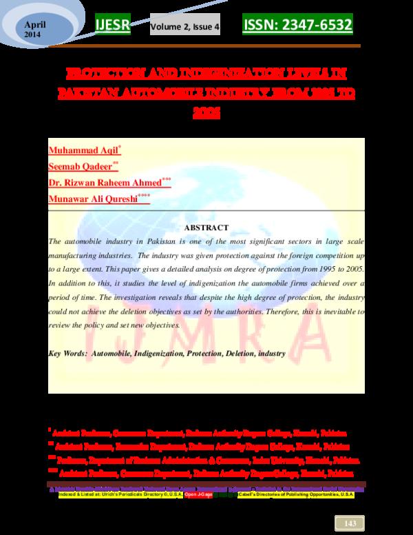 PDF) PROTECTION AND INDIGENIZATION LEVELS IN PAKISTAN AUTOMOBIEL