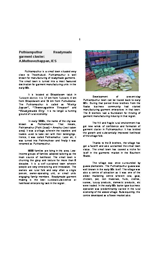 PDF) Puthiamputhur Readymade garment cluster | muthu vezhappan