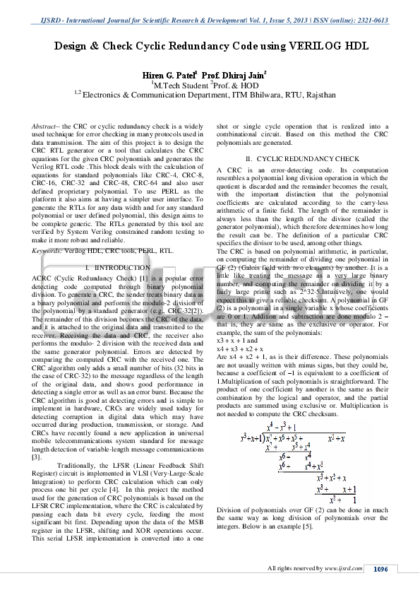 PDF) Design & Check Cyclic Redundancy Code using VERILOG HDL