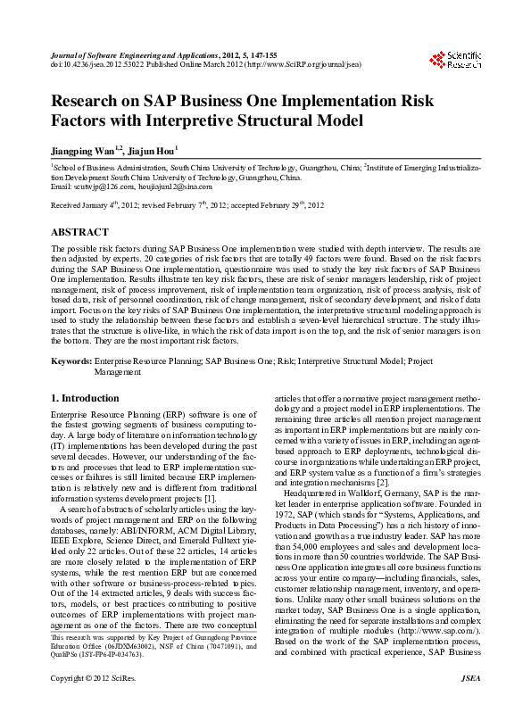 PDF) Research on SAP Business One Implementation Risk