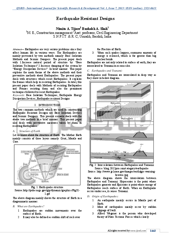 PDF) Earthquake Resistant Designs | IJSRD - International
