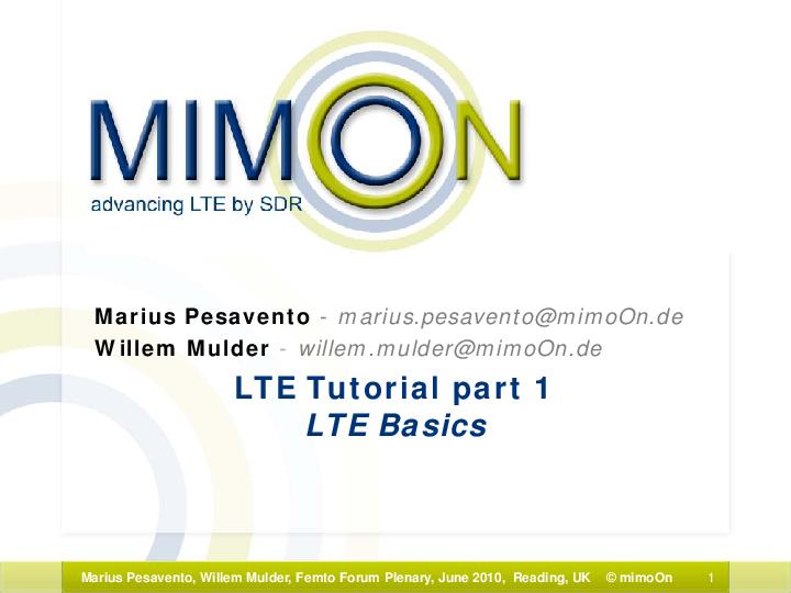 PDF) LTE Tutorial part 1 LTE Basics | siddhartha trivedi - Academia edu