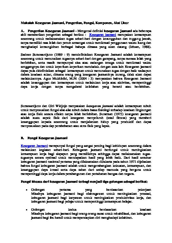 Doc Makalah Kesegaran Jasmani Imam Rofi I Academia Edu