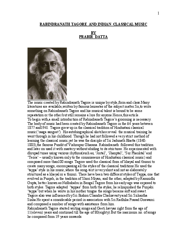 PDF) RABINDRANATH TAGORE AND INDIAN CLASSICAL | Prabir Datta