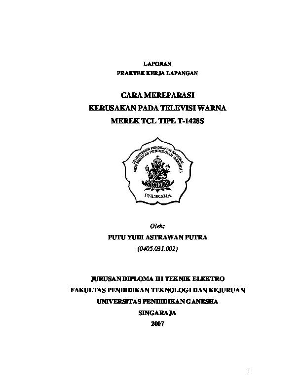 Pdf I Laporan Praktek Kerja Lapangan Jurusan Diploma Iii Teknik Elektro Fakultas Pendidikan Teknologi Dan Kejuruan Nanang Qosim Academia Edu