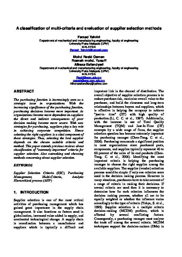 PDF) A classification of multi-criteria and evaluation of